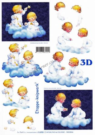 Adorable Children Playing With Stars Designs 3d Decoupage Sheet